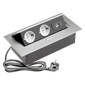 Встраиваемый настольный удлинитель, 2 гнезда+USB, серый SBT-R2UC-80